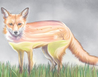"""Fox Art Print, limited edition - """"Miles and miles on my own."""""""