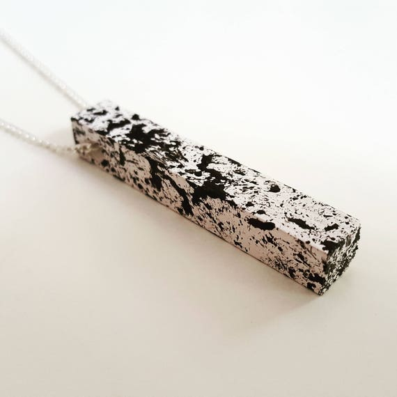 Monochrome / Hand Painted / Wooden / Rectangle / Necklace / Geometric / Pattern / Minimal / Assorted
