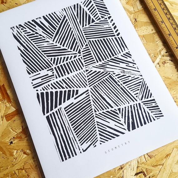 GEOMETRY A4 Art Print, Linoprint, monochrome, geometric, pattern, linear, block print, hand printed, graphic, modern style, new home gift