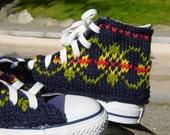 Fair Isle Knit Chucks, women's size 7 only