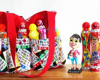 Bingo Bag, bingo cards dauber bag, Bingo Lover's Handbag, bingo tote, bingo/handbag in one!, Canvas bingo bag now in 9 color choices!