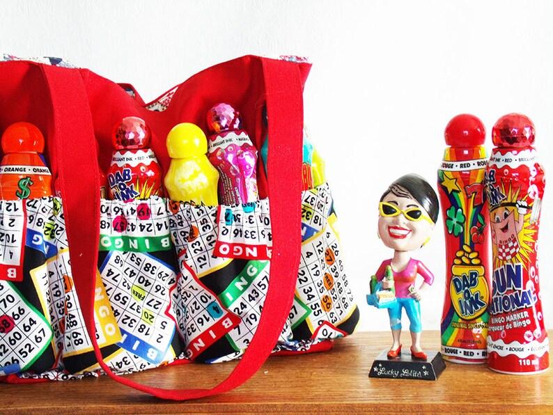 Bingo Bag bingo cards dauber bag Bingo Lover's Handbag Red