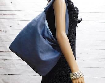 Medium Blue Faux Suede Handbag, blue-gray slouchy hobo bag, women's blue fashion sling bag, velvet soft suede-look shoulder bag