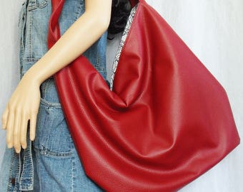 Red Handbag, Large Hobo Bag, faux leather bag, cinnabar cabo faux leather slouchy hobo shoulder bag, Easy clean everyday sling bag