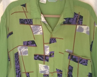 Vintage 1980s Shirt by Moustache, Art Design Loop Collar New Wave