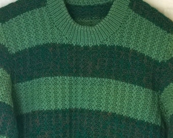 Vintage Knit Handmade Pullover Sweater, Green Horizontal Stripes