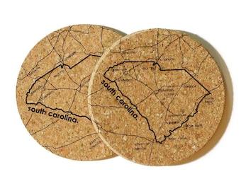 Laser Engraved South Carolina Charleston Cork Coasters