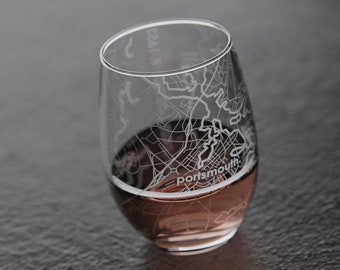 Portsmouth, NH Map Stemless Wine Glass