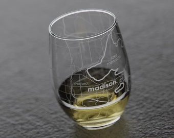 Madison, WI Map Stemless Wine Glass