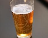 Nashville Map Pint Glass Gift