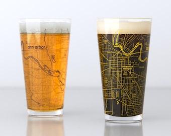 Ann Arbor, MI - University of Michigan - College Town Map Pint Glass Pair