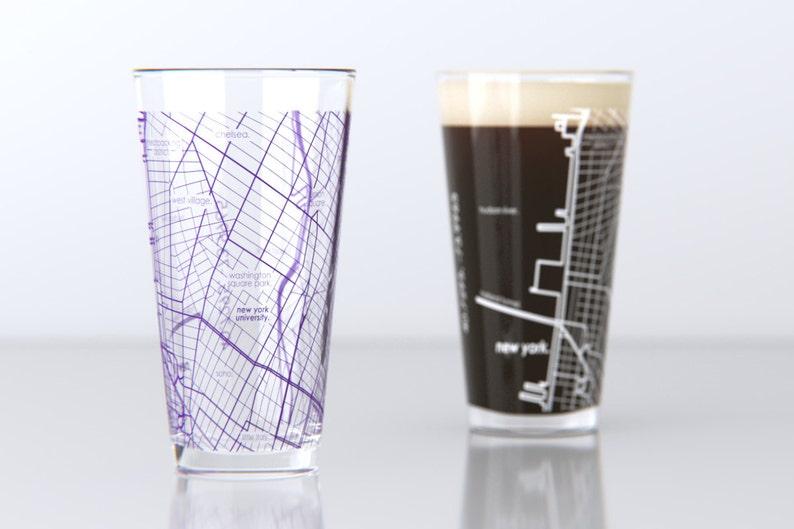 New York Subway Map Drinking Glass 16oz.New York Ny Nyu College Town Pint Map Glasses