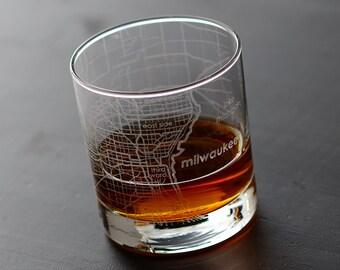 Milwaukee Maps Rocks Whiskey Glass Gift