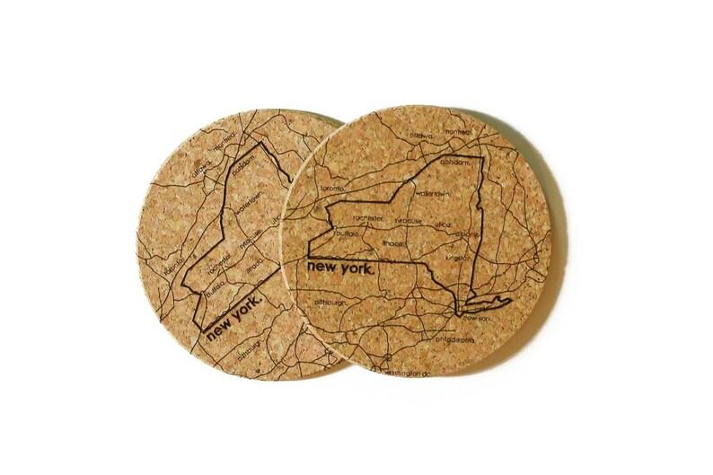New York Cork Coaster Pair