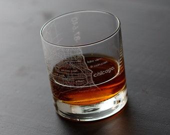 Chicago Maps Rocks Whiskey Glass Gift
