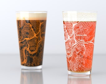 Knoxville, TN - University of Tennessee - College Town Pint Map Glasses