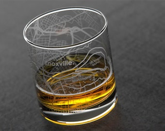 Knoxville - University of Tennessee - College Town Map Rocks Glass