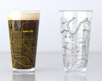 Iowa City, IA - University of Iowa - College Town Map Pint Glass Pair