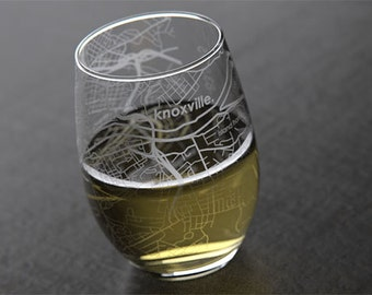 Knoxville - University of Tennessee - College Town Map Stemless Wine Glass