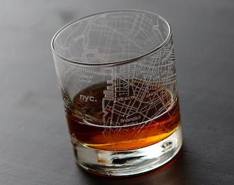 New York City Maps Rocks Whiskey Glass Gift