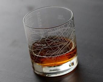 Detroit Maps Rocks Whiskey Glass Gift