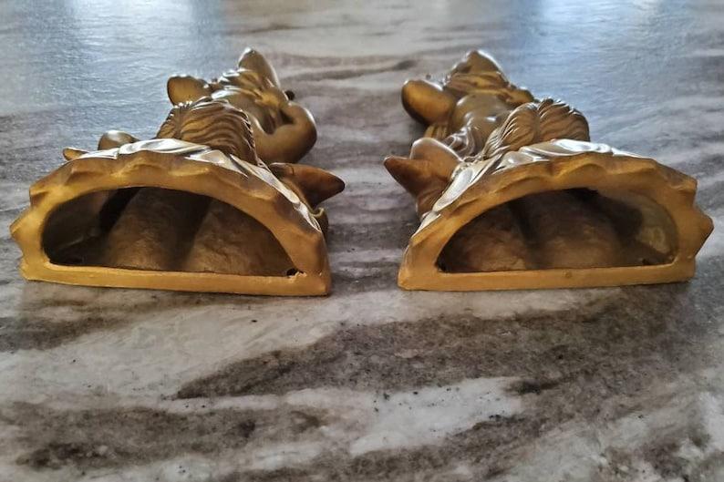 Vintage Ornate Pair of Cherub Angel Gold Wall Pockets 10