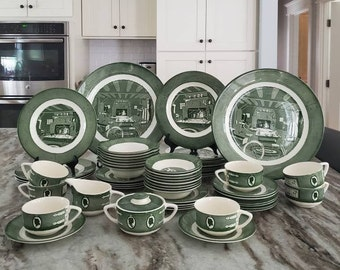 Vintage 1950s Colonial Homestead By Royal China Dishes