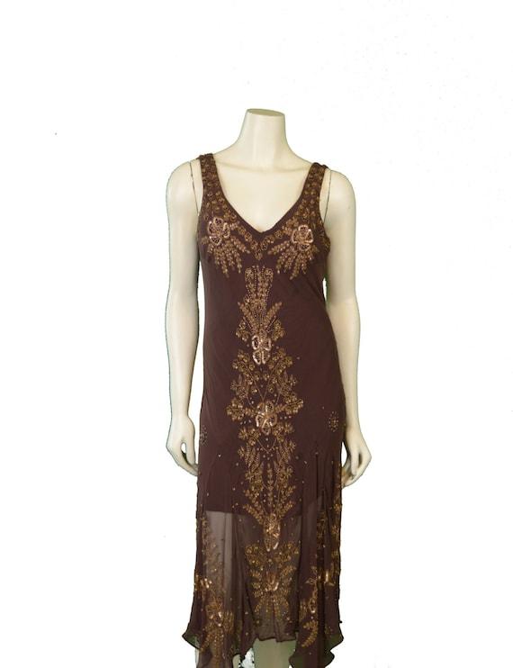 1980 Beaded Silk Chiffon Bias Cut Dress - image 1