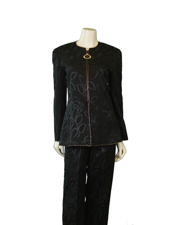 Mary McFadden Black Evening Suit 1980