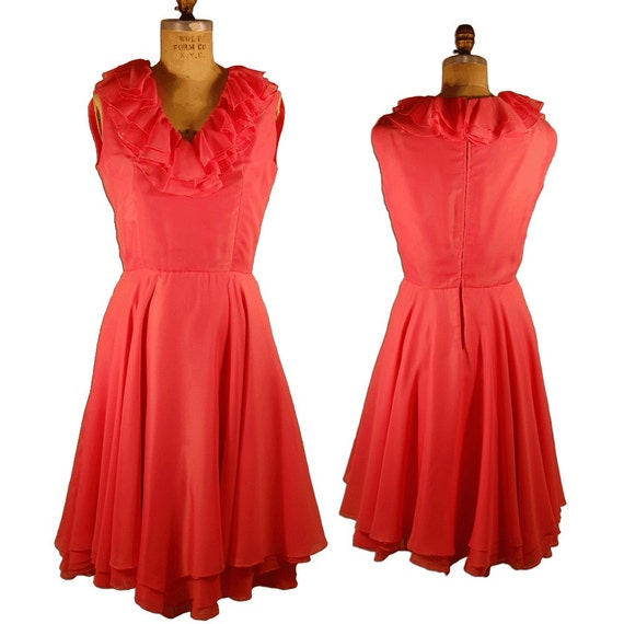 1960s Vintage Couture Bright Pink Silk Chiffon Dr… - image 1