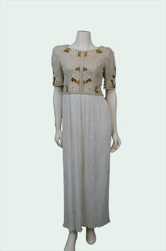 Mary McFadden Beaded Pleated Dress 1980
