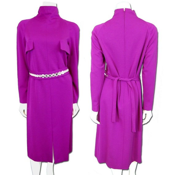 Pauline Trigere Plum Jersey Knit Dress