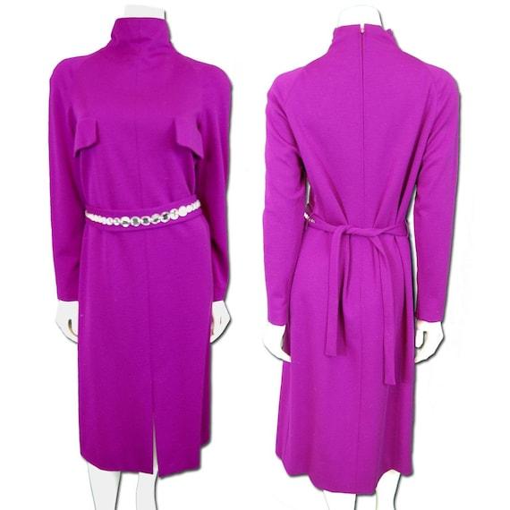 Pauline Trigere Plum Jersey Knit Dress - image 1
