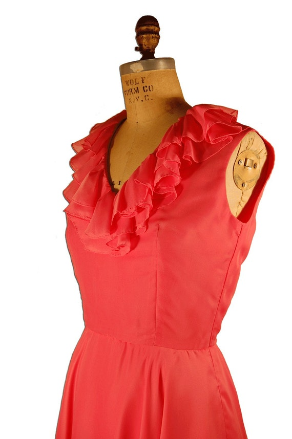 1960s Vintage Couture Bright Pink Silk Chiffon Dr… - image 4