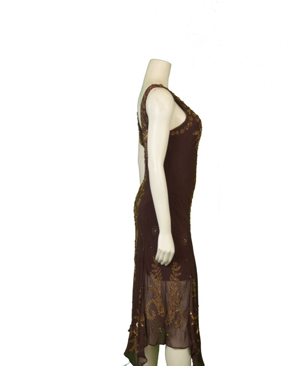 1980 Beaded Silk Chiffon Bias Cut Dress - image 2