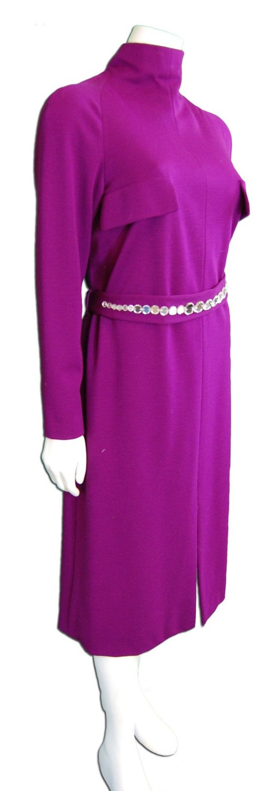 Pauline Trigere Plum Jersey Knit Dress - image 4