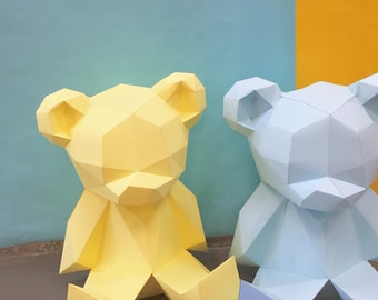Teddy Bear 3d papercraft. You get PDF digital file with this improved template and instruction for DIY minimalist Teddy Bear.