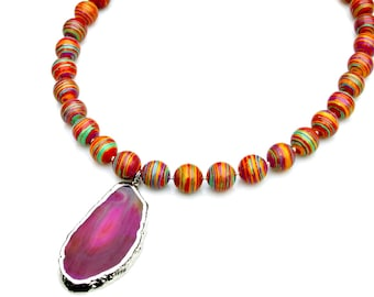 Pink Agate Rainbow STATEMENT Necklace Geode Slice Agate Pendant Silver Beaded Rainbow Gem Beads Boho Chic Summer Style Mei Faith