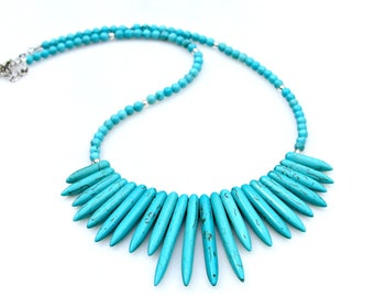 Sleeping Beauty Turquoise Necklace Fringe STATEMENT Style Blue Turquoise Silver Goddess Flair Boho Country Chic by Mei Faith