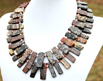 Statement Necklace Natural Red Snowflake Jasper Slab Beaded Double Strand Gold Black Red Pink Coral Rustic Boho Chic Couture High Fashion