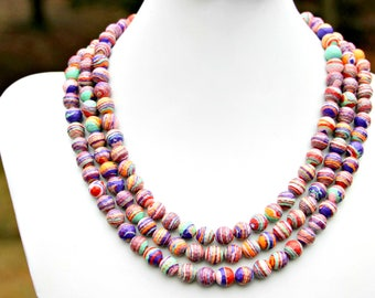 Rainbow Triple Strand STATEMENT Necklace Multi Layered Faceted Colorful Pink Green Orange Purple Beads Couture High Fashion by Mei Faith