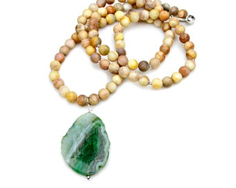 Green Agate STATEMENT Long Necklace Yellow Matted Sunstone Moonstone Beaded Quartz Pendant Couture Boho Chic High Fashion Style by Mei Faith