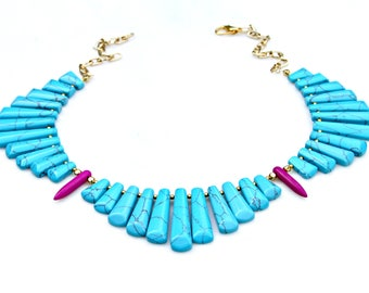 Turquoise Collar Necklace STATEMENT Goddess Spike Fringe Tribal Cleopatra Bib Boho Chic High Fashion Couture Style by Mei Faith