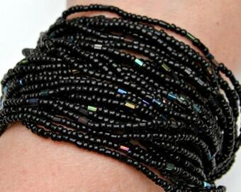 ON/SALE: Multi Strand Statement Beaded Bracelet Jet Black Rainbow Shimmer Beads Exotic Goddess High Fashion Jewelry Adjustable Size