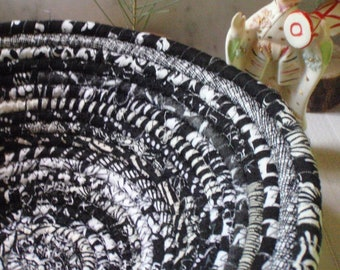 Black and White Gypsy Coiled Fabric Basket - Neutral Colors, Catchall, Handmade by Me