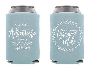 Custom Can Cooler Personalized Wedding Favor Party Gift Anniversary Favor Engagement Favor  3D251 The Adventure Begins Sand dollar