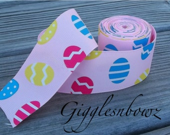 HaPPY EaSTER-1.5 inch PiNK EaSTeR EGGS Grosgrain Ribbon 5 yards