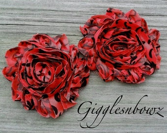 Set of Two Shabby Frayed Vintage look Rosette Flowers- RED SWiRL Damask Print