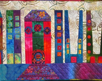 Roman Buildings I-V Art Quilt