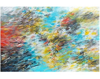 SALE Original Abstract Expressionist Painting, 20x30 Canvas Wall Art, Contemporary Decor, black turquoise red yellow white, Jessica Torrant